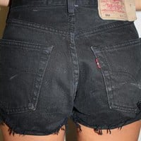 Vintage LEVIS Black Denim High Waisted Shorts from Boutique 73