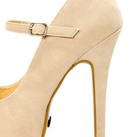 Promise Italo Nude Peep Toe Mary Jane Platform Pumps