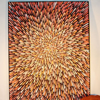 Painting Orange and Peach  Aboriginal Inspired 24 x 30 by Acires