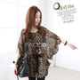 Spring Summer Asian Women&#x27;S Clothing Leopard Binding Chiffon Dresses