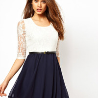 cute lace bowknot montage dress