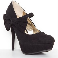 Black Velvet Bow Heels