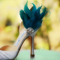Shoe Clips Teal Green & Pearls or Rhinestones. Couture Bride Bridal Bridesmaid Feathered Accessory, Chic Statement Fashion Week Awards