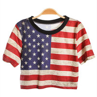 SakuraShop  National Flag Print Loose Short T-shirt