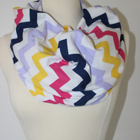 Chunky MuiltiColor Chevron Scarf- MultiColor Infinity Scarf - Loop Scarf, Circle Scarf - Handmade Women&#x27;s Accessory