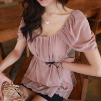 Sweet Princess. Princess Sleeves Pleated Pale Pink Blouse Top | GlamUp - Clothing on ArtFire