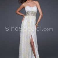 Beautiful A-line Sweetheart Neckline Floor Length Chiffon Rhinestones Prom Dress-SinoSpecial.com