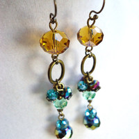 Long Yellow Green & Rainbow Crystal Bohemian Gypsy Earrings