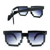 Black Pixel Square Sunglasses