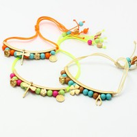 Summer Fashion Clover Dragonfly Colored Beaded Rope Braided Bracelet - Bracelets - Jewelry Free Shipping