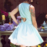 "Aqua ""Pixie"" Dress with gathered full circle skirt and Heart Cut Out Back---------available in many colors and custom sized"