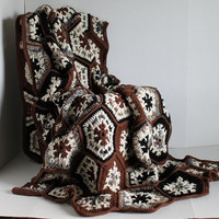 Afghan- Handmade Hexagon Crochet Blanket - Extra Long - Browns and Blacks
