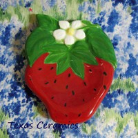 Ceramic Strawberry Tea Bag Holder or Small Kitchen Spoon Rest