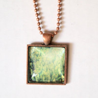 Indie Charm Necklace - handmade photography print jewelry hipster trees forest green landscapes beautiful