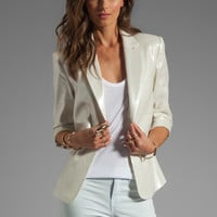 Alice + Olivia One Button Ruched Sleeve Blazer in Metallic from REVOLVEclothing.com