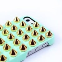 Amazon.com: Fashion Punk DIY Studs and Spikes Cell Phone Case for iPhone 5/5G Studs Mint Green Case: Cell Phones &amp; Accessories