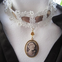 Romantic Brown Lady Cameo in Golden Setting on Lace Choker