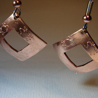 Copper Dangle Earrings Handmade with Square Cut  Turtle stamp and Hammered Texture