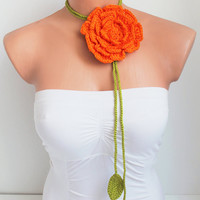 Handmade Green Crochet leaf and Big Orange Rose Flower Lariat, Scarf