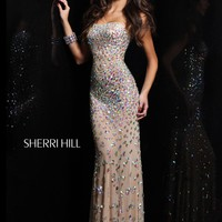Sherri Hill 21079 Aqua Evening Gown