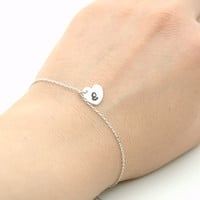 Hand Stamped Sterling Silver Personalized Monogram Bracelet - Custom Initials , Heart Bracelet - Modern Jewellery  - Matt Satin Finish