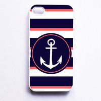 Nautical iPhone Case for iPhone 4 / 4S - Navy & Coral