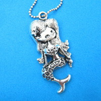 Super Cute Mermaid Charm Necklace in Silver from Dotoly