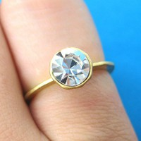 SALE - Simple White Rhinestone &quot;Diamond&quot; Ring in Gold Size 6 ONLY