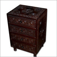 Moroccan style night stand, Carved teak night stand, Moroccan style furniture