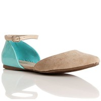Natural/Mint Ankle Strap Flats