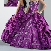 New Purples Embroidery Wedding Dress Ball gown Quinceanera/Prom/ Evening Dresse