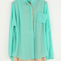 Light-blue Lapel Chiffon Backless Piercing Shirt:Buy at Sheinside