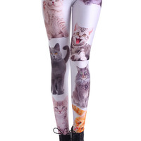 ROMWE | Various Cat Faces Print Leggings, The Latest Street Fashion