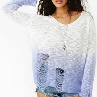 Purple Ombre Knit Sweater with Spike & Shredded Detail