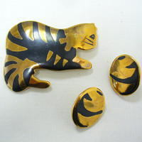 Gold Ceramic Cat Brooch and Earrings by Blim on Etsy