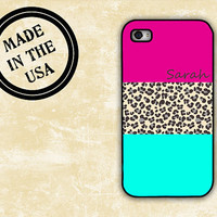 Cute iPhone case - Hot pink, light blue leopard - animal print Iphone 4 case monogrammed Iphone 5 Iphone 4s cover, rubber plastic  (9912)