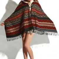 purple label - women's emilene south western printed hooded poncho (rust) - Purple Label | 80's Purple
