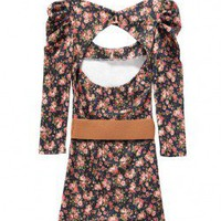 Cut Out Body-Conscious Dress in Bright Floral Print