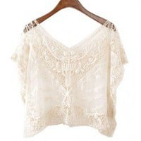 Beige Cropped Loose Fit Embroidered Lace T-shirt