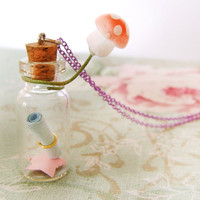 Message in a bottle necklace Secret vial necklace by KandyDisenos