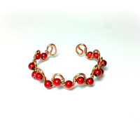 Red beaded bracelet copper wire by theflowerdesign on Etsy