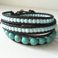 Turquoise Leather Wrap Bracelet GOOD LUCK by Jennasjewelrydesign