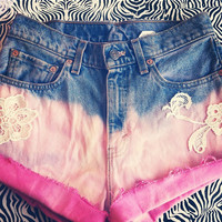 Pink Ombre and lace shorts by AngeliqueMerici on Etsy