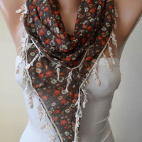 Mother's Day - Brown and Orange Flowered Triangular Scarf with Beige Trim Edge