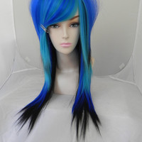 ON SALE / Ahoy Matey / Black, Royal Blue, Aqua / Long Straight Layered Wig Mermaid Sailor Pirate