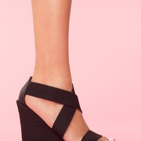 Bound Platform Wedge - Black in  Shoes at Nasty Gal
