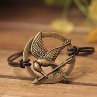 HUNGER GAMES bracelet,inspired mockingjay bracelet with retro bronze arrow,brown leather bracelet---B043