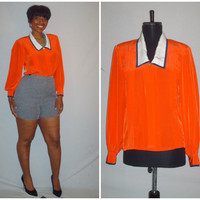 Vintage 1980s Bright Orange Blouse Bishop Sleeve