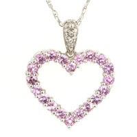 Lab-Created Pink Sapphire and Diamond Accent Heart Pendant in 10K White Gold - View All Necklaces - Zales