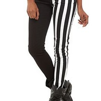 Royal Bones Split Leg Black And White Stripe Skinny Jeans - 765574